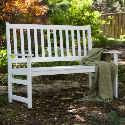 Pleasant Bay Slat Back Bench - White modern bedroom benches