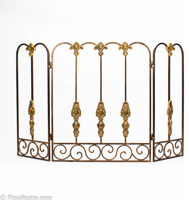 Bronze tuscany fireplace screen traditional fireplace screens chicago by finestems - Houzz fireplace screens ...