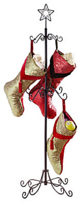 Tall Metal Christmas Stocking Holder Stand contemporary-holiday-decorations