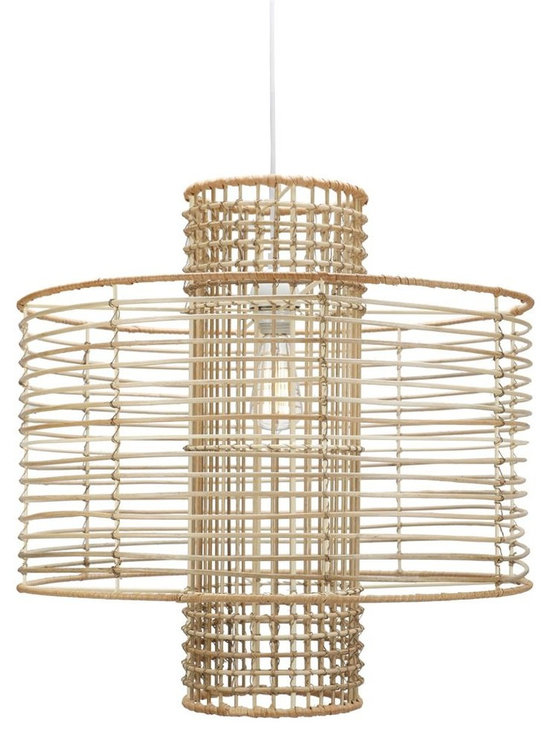 Deco Hanging Pendant - Natural - Our take on Miami casual elegance with natural materials, rattan core around a wire frame. Comes with UL approved socket and soft cord single bulb pendant kit.