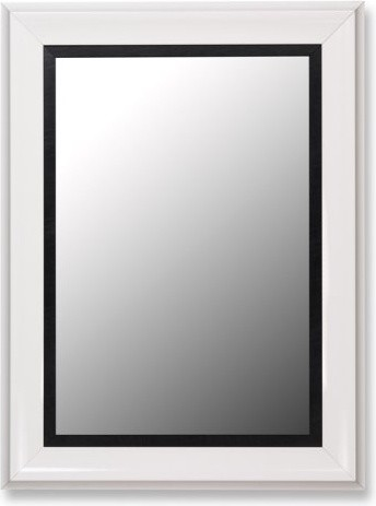 Glossy White Grande and Executive Black Wall Mirror contemporary-mirrors