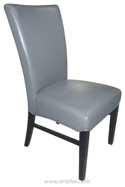Leather Dining Chair Gray Leather Contemporary Dining