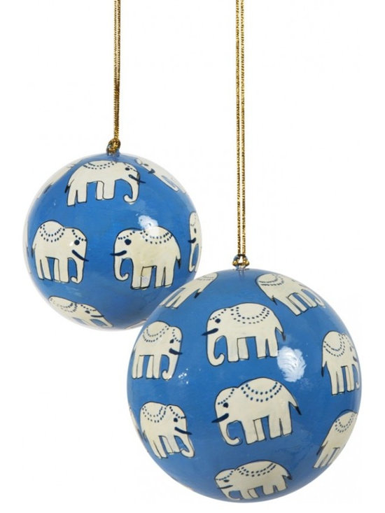 Hand-Painted Ball Ornament, Hathi, Blue -