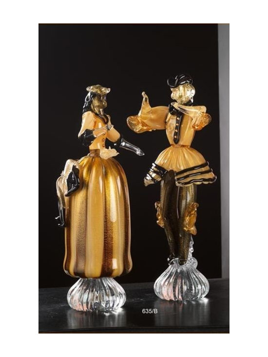 Murano Glass Sculptures and Figurines - Murano Glass columbine figurines - COA and made to order.  More available so please contact us