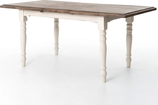"""Cottage White Extension Dining Room Table 71"""" - Beach ..."""