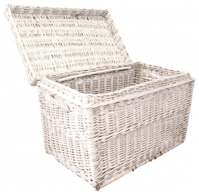 Vintage White Wicker Trunk - Eclectic - Decorative Trunks - new york - by Second Shout Out