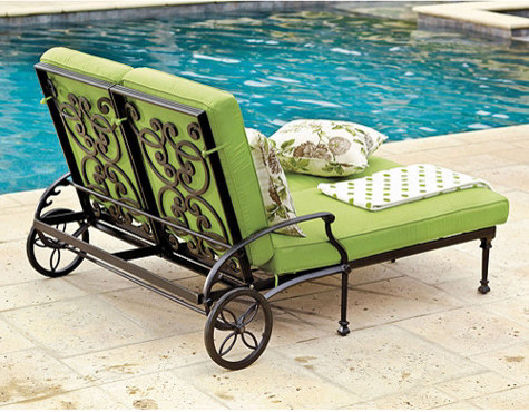 Amalfi double chaise traditional outdoor chaise for Ballard designs chaise lounge