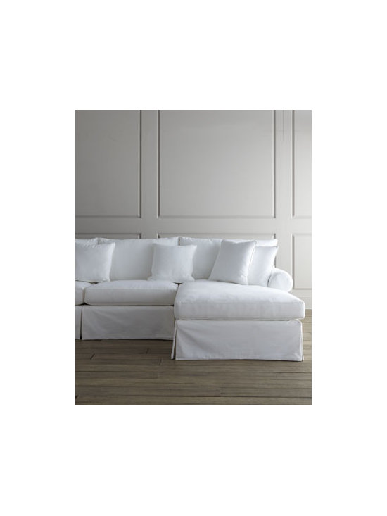 Horchow - Covington Sectional - An L-shaped sectional keeps guests facing each other for easy, comfortable conversation. Handcrafted. Cotton twill upholstery over engineered hardwood frame. Feather/down blend seats and pillows. Sinuous-spring construction. Finished back. Select....