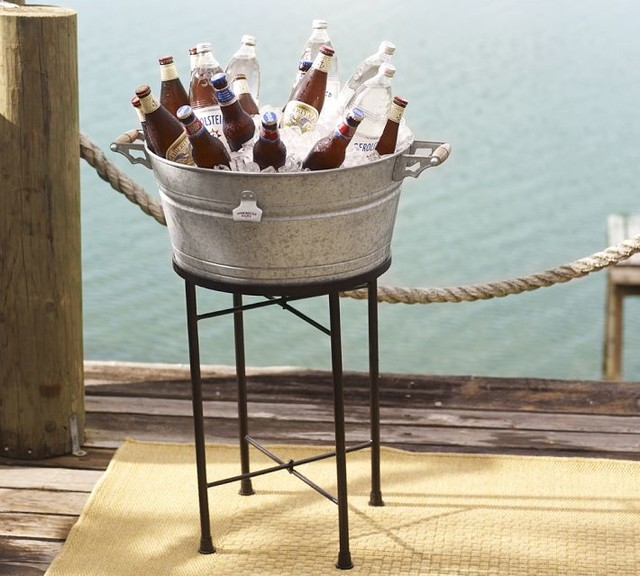 rivet galvanized metal party bucket stand beach style ice tools and buckets by pottery barn. Black Bedroom Furniture Sets. Home Design Ideas