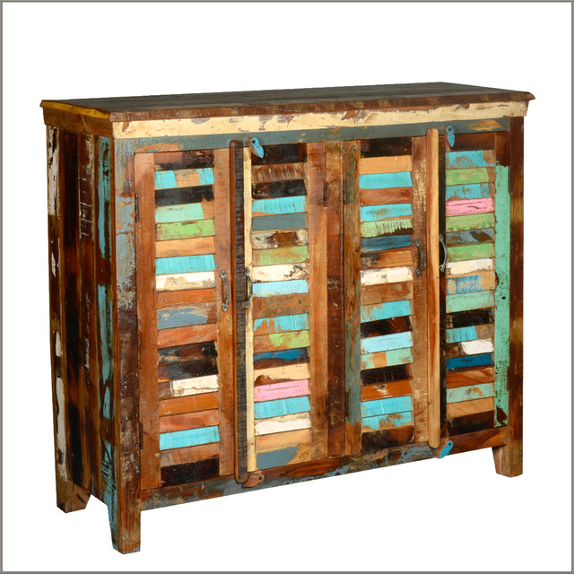 Multicolor 4 Shutter Door Buffet Reclaimed Wood Sideboard Cabinet - Rustic - Buffets And ...