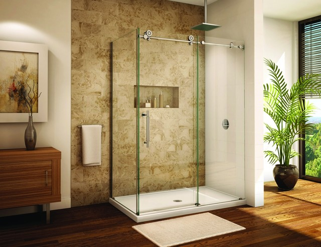 Framless glass barn sliding shower door  hardware modern showers