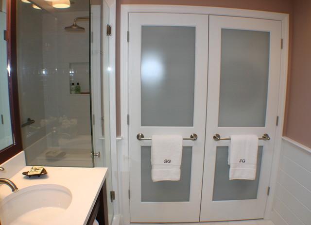 Master bath / laundry transitional-bathroom