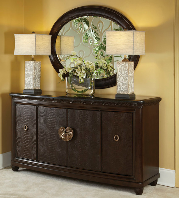 American Drew Bob Mackie Granite Top Credenza With Oval Mirror In Dark Brown Traditional