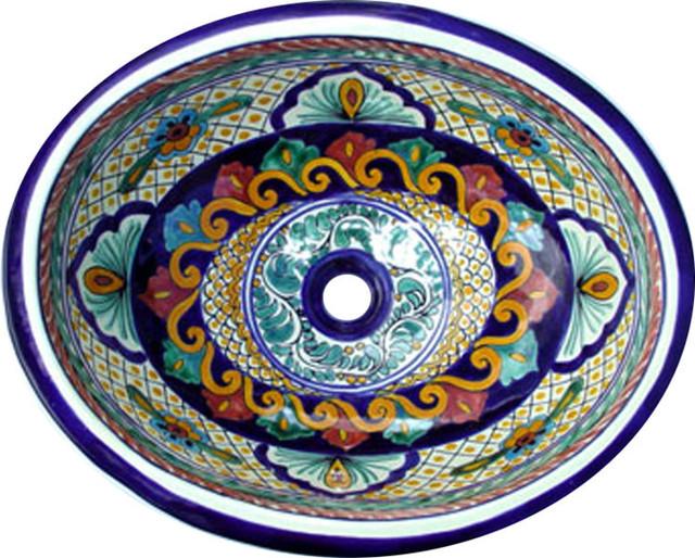 Made to order Talavera Hand Painted Spanish Style  Sink, Large mediterranean-bathroom-sinks