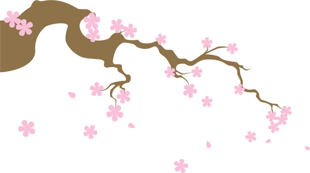 Tree Branch With Flowers And Falling Petals