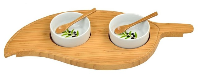 Two Bowl Leaf Serving Tray Contemporary Serving Trays By