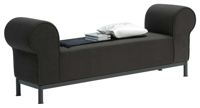 rolled arm fabric bedroom bench contemporary upholstered benches