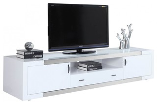 Franco High Gloss White TV Stand - Modern - Entertainment Centers And Tv Stands