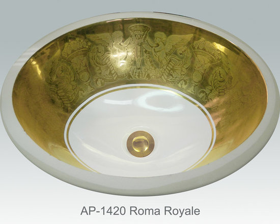 "Hand Painted Undermounts by Atlantis Porcelain - ""ROMA ROYALE"" Shown on AP-1420 white Monaco Medium undermount 17-1/4""x14-1/4""available on burnished gold or platinum and bright gold or platinum on any of our sinks."