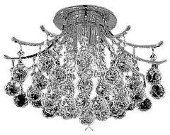 """3-Light 16"""" Chrome Ceiling Flush Mount Contour Design contemporary-ceiling-lighting"""