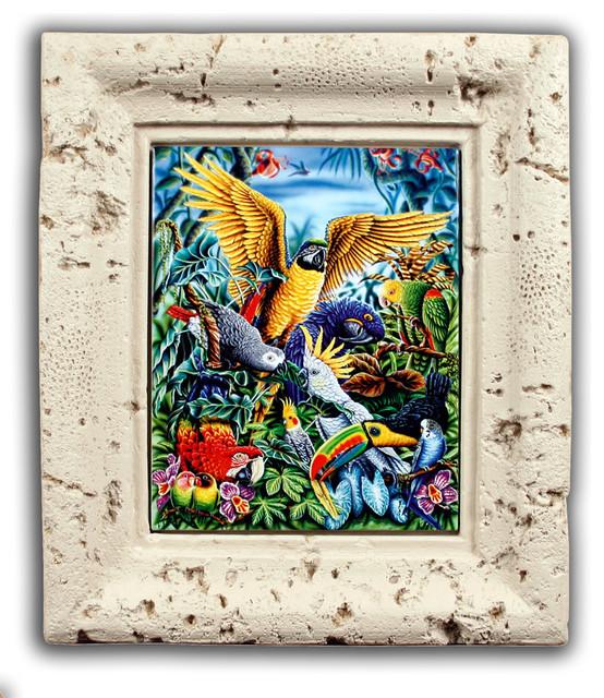 """Birds of the Tropics"" - Coral Framed Ceramic Tile Mural tropical-artwork"
