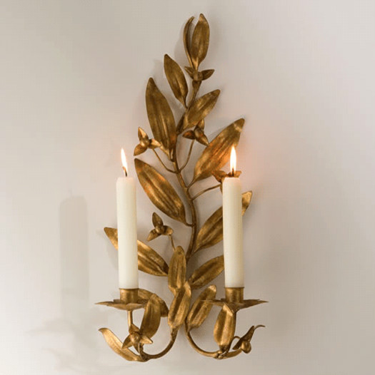 Gold Candle Wall Lights : Gold Leaf Candle Sconce - Traditional - Wall Sconces - los angeles - by Julie Thigpen
