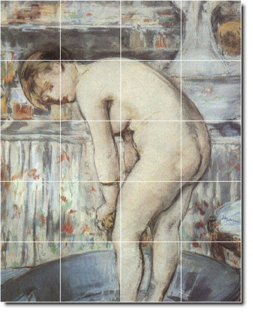 Woman In A Tub Tile Mural By Edouard Manet traditional-tile-murals