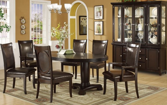 7 pieces formal espresso finish wood dining table set