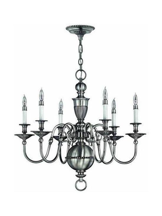Hinkley Lighting 4416PW 6 Light Chandelier Cambridge Collection -