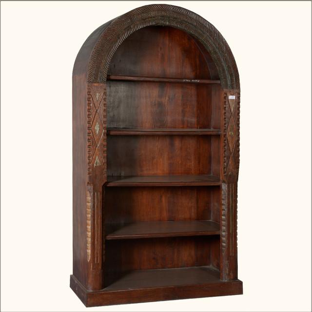 native american arched reclaimed wood 5 shelf open display. Black Bedroom Furniture Sets. Home Design Ideas