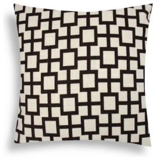 Domusworks Lattice Brown Cream Decorative Pillow modern-decorative-pillows