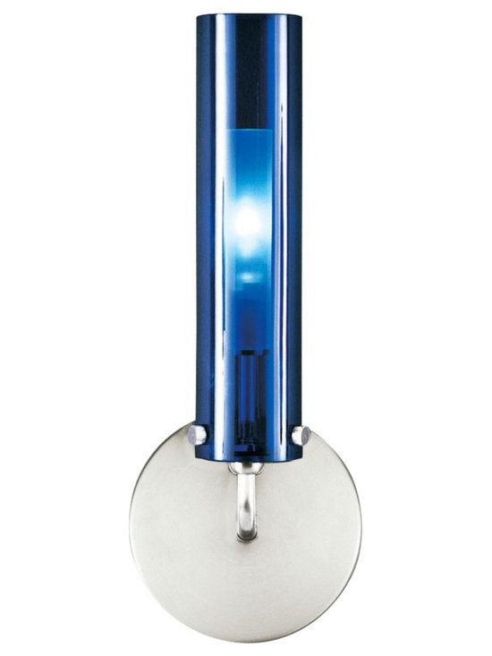 "LBL Lighting - LBL Top Wall II Nickel Blue Glass 12"" High Wall Sconce - This nickel finish wall sconce from LBL Lighting comes in a unique blue glass with internal diffuser for a striking effect with your decor. The mouth-blown glass cylinder can be positioned either up or down to direct light in a variety of ways. Nickel finish. Blue glass. Mouth-blown glass with borosilicate internal diffuser. ADA compliant. Includes one 60 watt halogen bulb. 12"" high. 4 1/2"" wide.  Extends 3"" from the wall.  Nickel finish.  Blue glass.  Mouth-blown glass with borosillicate internal diffuser.  ADA compliant wall sconce.  From the LBL wall sconce lighting collection.  Includes one 35 watt low voltage TY 6.35 bulb.  12"" high.  4 1/2"" wide.  Extends 3"" from the wall."