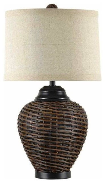 Dark Rattan Table Lamp Table Lamps Other Metro By