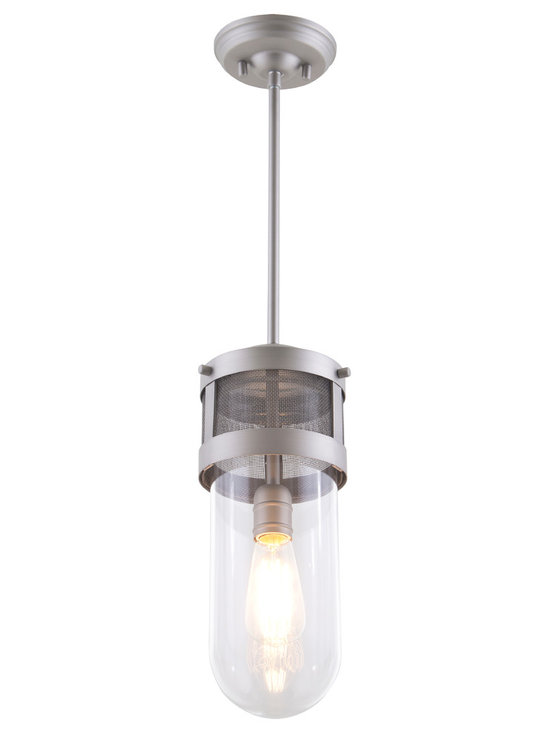 DVI Lighting - Capsule Mini Pendant - Capsule Mini Pendant features Clear glass with a Brushed Nickel, Chrome, or Graphite finish. One 60 watt, 120 volt Edison A-Shape type Medium base incandescent bulb is required, but not included. 6.5 inch width x 15.25 inch height x 54.2 inch maximum length.