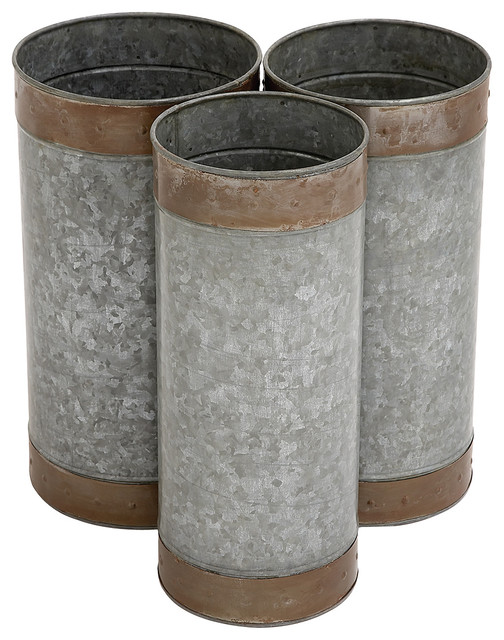 Three-Piece Galvanized Metal Planter Set - Contemporary - Indoor Pots And Planters - by zulily