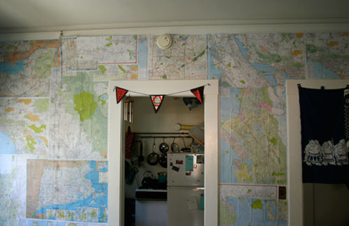 Wall of maps eclectic