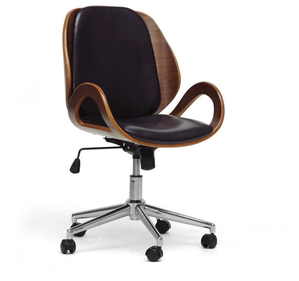 watson walnut and black modern office chair transitional office chairs