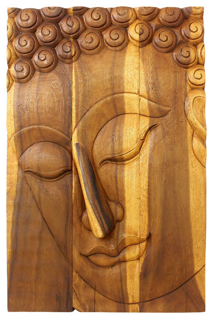 Buddha Panel Pacceka Sust Wood 24 x 36 inch Hgt w Eco Friendly Livos Oak Oil Fin mediterranean-decorative-objects-and-figurines