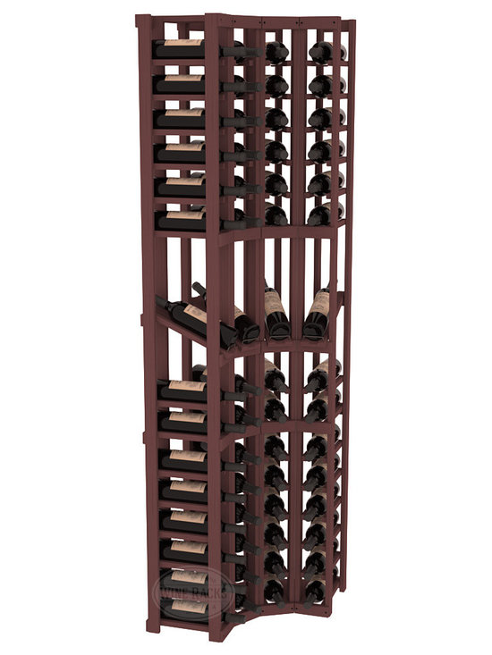 Wine Racks America® - 4 Column Display Cellar Corner in Pine, Walnut Stain - Unique corner wine racks obtain maximal storage capacity with style. Display 4 coveted vintages without sacrificing proper wine storage. We back the quality of every rack with our lifetime warranty. Designed with emphasis on functionality, these corner racks fit seamlessly into our modular line of wine racks.