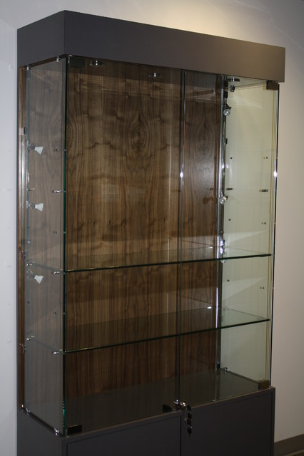 Glass display case modern-display-and-wall-shelves