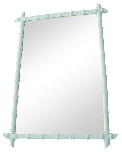 Fake Fireplace Tropical Bathroom Mirrors And Modern: Large Vintage Aqua Faux Bamboo Mirror