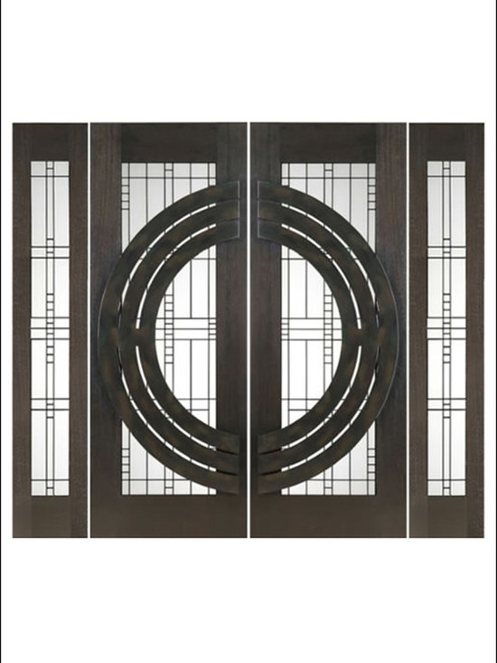 """AAW Inc. - Contemporary Entry Door Model NW-1659 - Model NW-1659 from our New World Collection. Door is solid Mahogany, 2-1/4"""" thick with decorative glass and  iron work on the outside."""