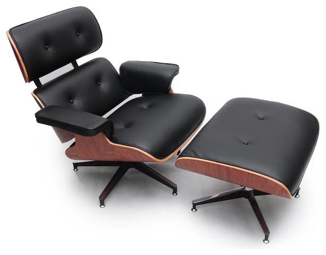 Kardiel Plywood Lounge Chair & Ottoman, Black Genuine Leather/Palisander modern-chairs