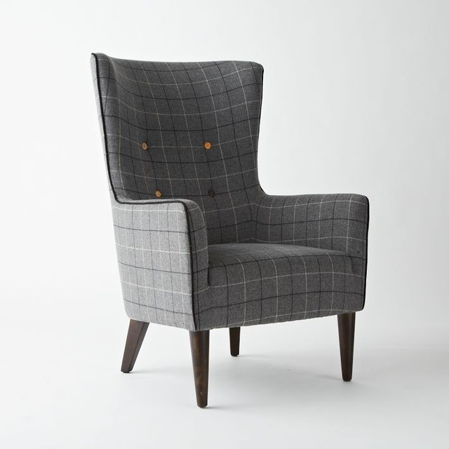 Victor Chair, Buttoned, Window Pane Plaid contemporary armchairs