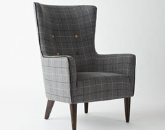 Victor Chair, Buttoned, Window Pane Plaid contemporary-armchairs
