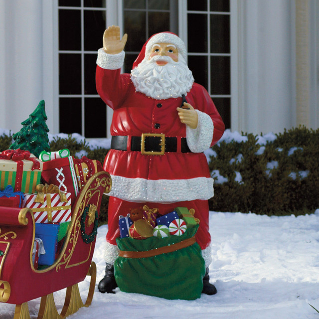 fiber optic santa with bag of toys frontgate outdoor