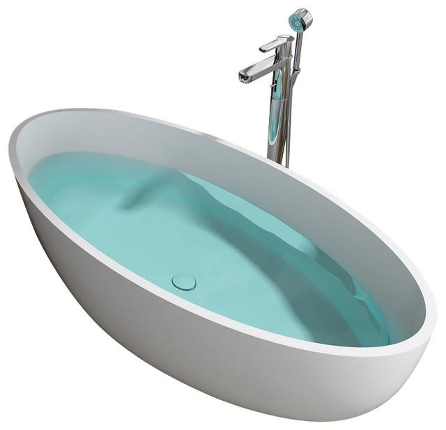 ADM Matte White Stand Alone Resin Bathtub, Matte modern-bathtubs