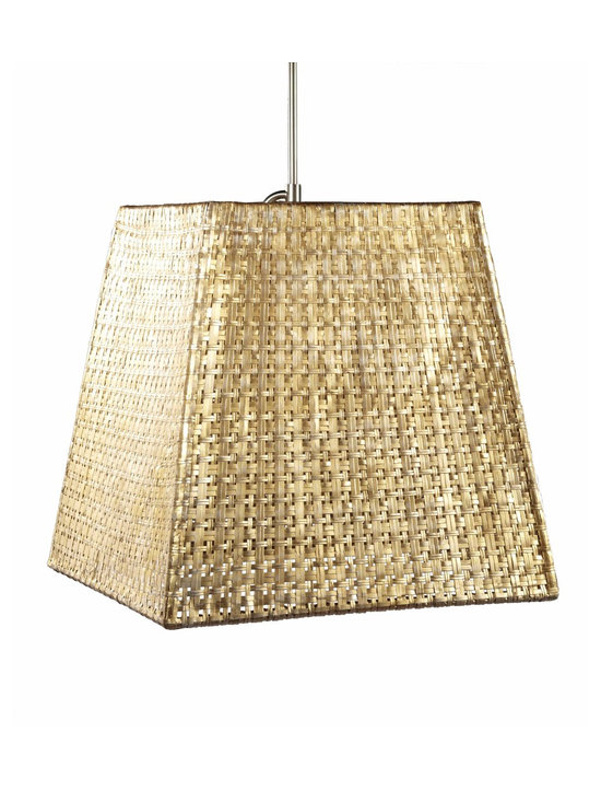 Seline Square Tapered Pendant - Hand-woven aluminum, fashioned after a draped table, is finished in a subtle metallic patina. The Selene collection comes in four styles of shades each with UL approved brushed nickle pendant kit.