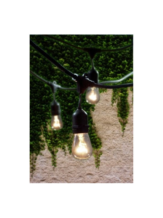 "Bulbrite - Bulbrite 810002 Clear String Light Pack of (15) Outdoor String Light - Bulbrite is a leading manufacturer and supplier of innovative, energy-efficient light source solutions. Founded nearly 40 years ago, Bulbrite is a family owned business renowned for its commitment to innovation, education and new technology. Bulbrite offers an extensive line of light bulbs and lamping options including LED, HID, CFL, Fluorescent, Halogen, Krypton/Xenon, Incandescent, and a broad range of specialty lamps. Stylish string light fixture is the perfect way to enhance any outdoor landscape. This 48  string is UL approved for outdoor use and features 15 medium (E26) base sockets. Able to string up to 4 sets together with a 1500 wattage max for the entire line Features:  Perfect for patio lighting, gazebos, porches, outdoor events, parties, and restaurants/bars Commercial grade UL rated string light can withstand the wear and tear of outdoor use Dimensions: Maximum Overall Length 48 ft. cord with 3 ft. spacing between each socket  Specifications:  Number of Bulbs: 15 Medium Base (E26) S14KT bulbs Included Space between Bulbs: 36"" Bulb Base: Medium (E26) Bulb Type: Incandescent Wattage: 1500 Voltage: 120 Beam Spread: 360 Degrees Connect up to 4 string"