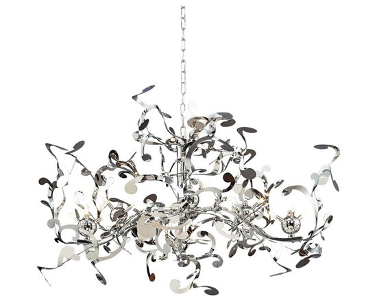 "Possini Euro Design - Possini Euro Design 18-Light Curly Ribbon Pendant - A random configuration of metal scrolls are set with round joints which hold small 10 watt halogen bulbs. A chrome finish furthers the contemporary look. From the Possini Euro Design lighting collection. Chrome finish. Metal construction. 36"" wide. 22"" high. 44"" overall hanging height. Includes eighteen 10 watt Bi-Pin halogen bulbs. Comes with Magnetic transformer. 6 1/2"" wide and 4"" high canopy. Weighs 15.32 pounds.  Chrome finish.  Metal construction.  Designer style large chandelier.  Includes eighteen 10 watt Bi-Pin halogen bulbs.  Comes with Magnetic transformer.  36"" wide.  22"" high.  44"" overall maximum height.  Includes 5 foot chain.  6 1/2"" wide and 4"" high canopy.  Weighs 15.32 pounds."